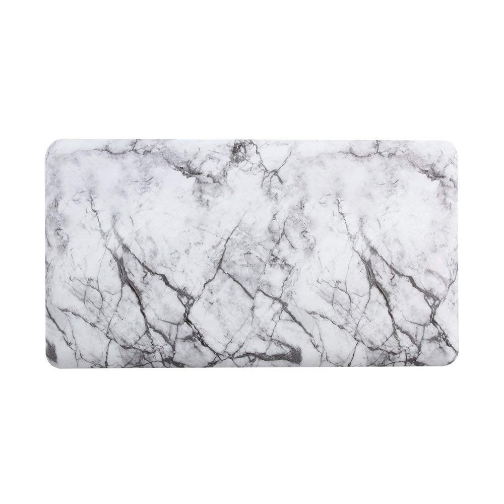 White Ergonomically Designed For Kitchen Office Standing Desk 3 4 Thick Marble Print Kitchen Rugs And Mats Cushioned Anti Fatigue Anti Fatigue Kitchen Mat Comfort Floor Mat W20 X L36 Kitchen Utensils Gadgets