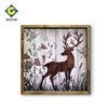 Stag figure painting wall art square frame on wood framed board