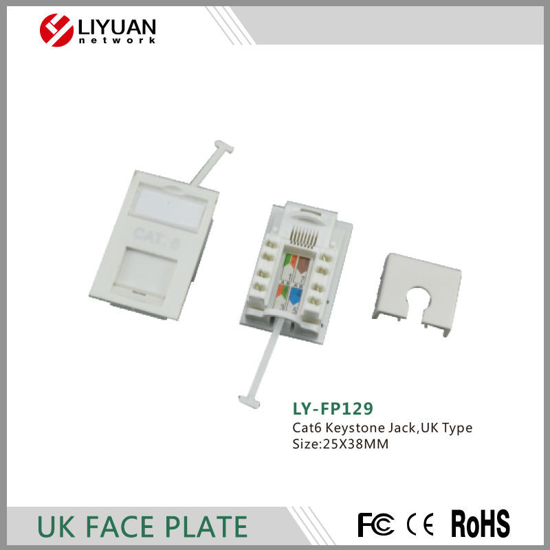LY-FP129 UK Type Single Port Faceplate with Cat6 Keystone Jack