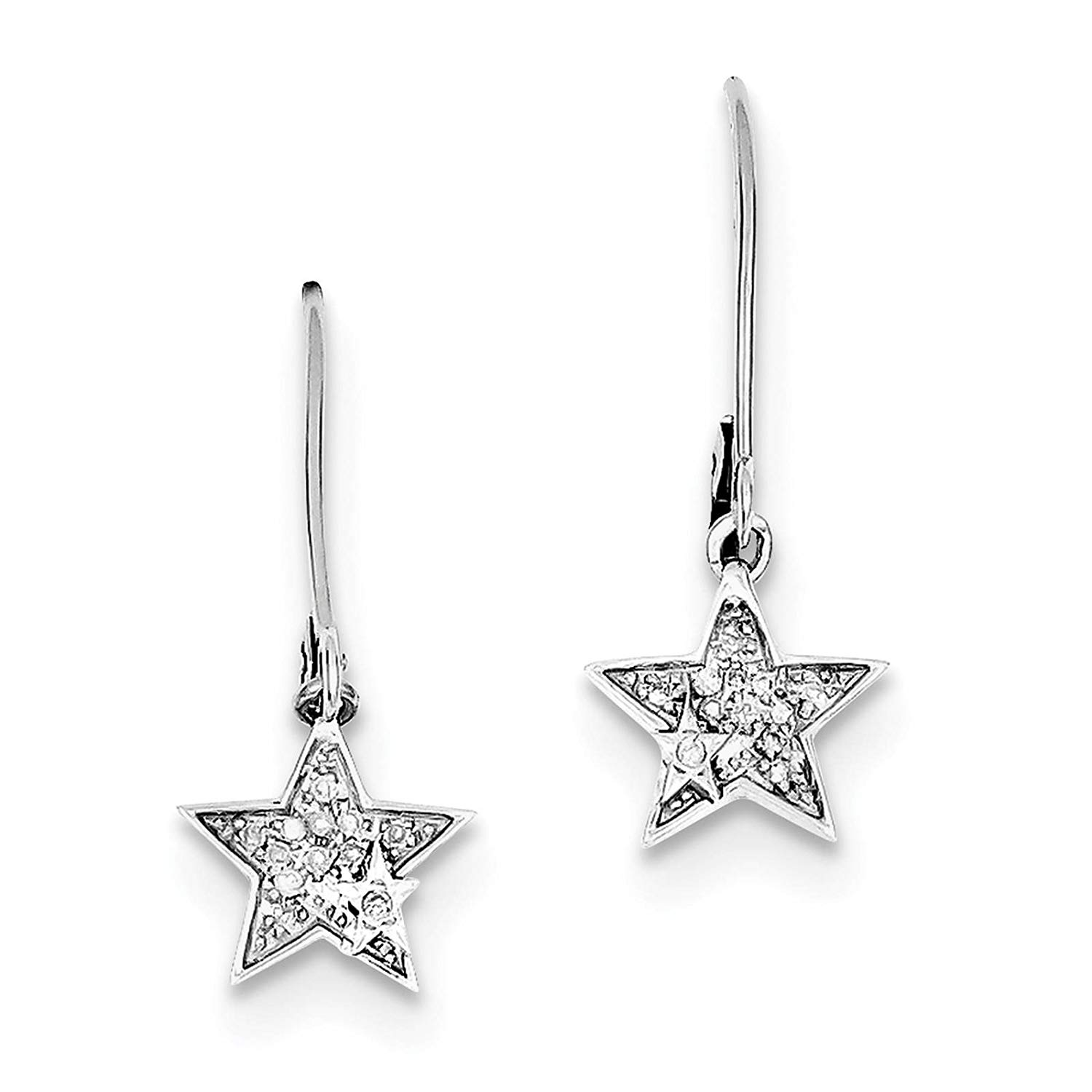 .925 Sterling Silver Rhodium-plated Diamond Star Dangle Earrings