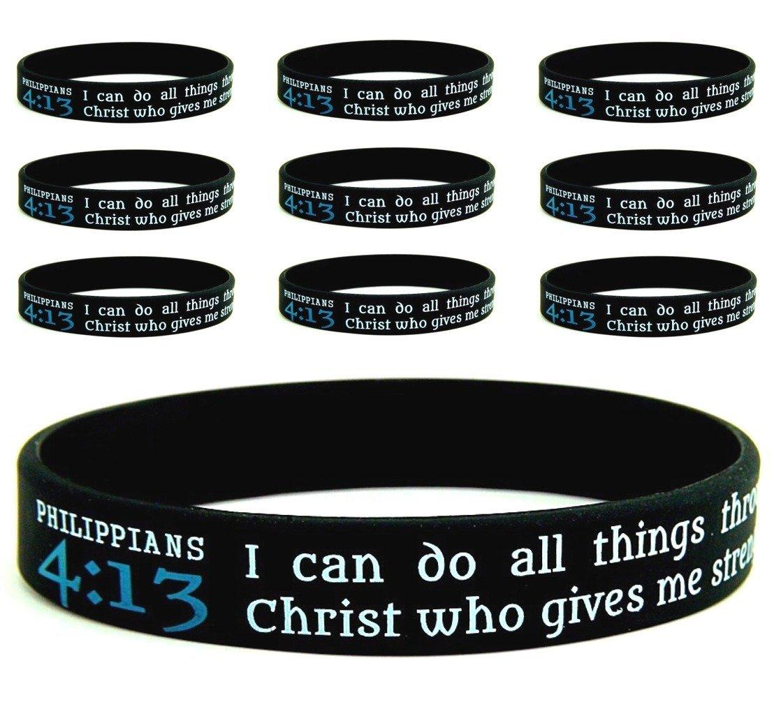 PHILIPPIANS 4:13 SILICONE BRACELETS, BULK 10-PACK - Religious Scripture Bible Verse Silicone Rubber Bracelet Christian Wristbands