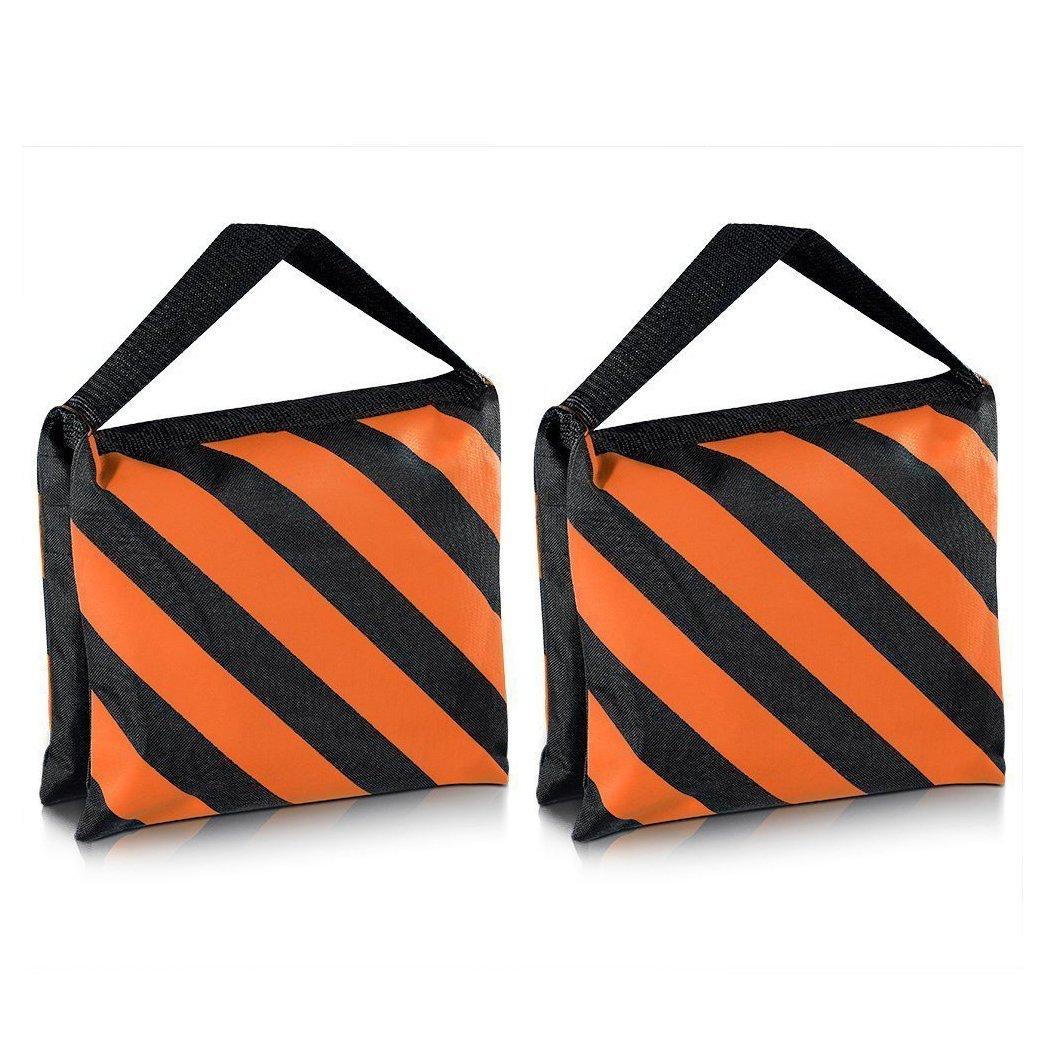 SODIAL(R) Heavyweight bag Heavy duty film bag for studio video studio for light supports tripod arms (2 Pcs Set, Black + Orange)