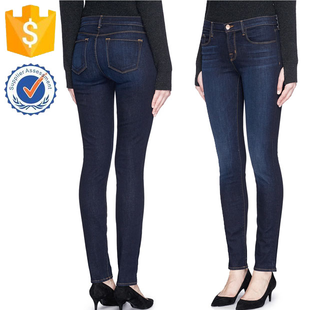 Acclaimed For Minimalist Sensibilities Dark Sanded Whiskered Jeans Manufacture Wholsale Women Apparel (TF0013J)