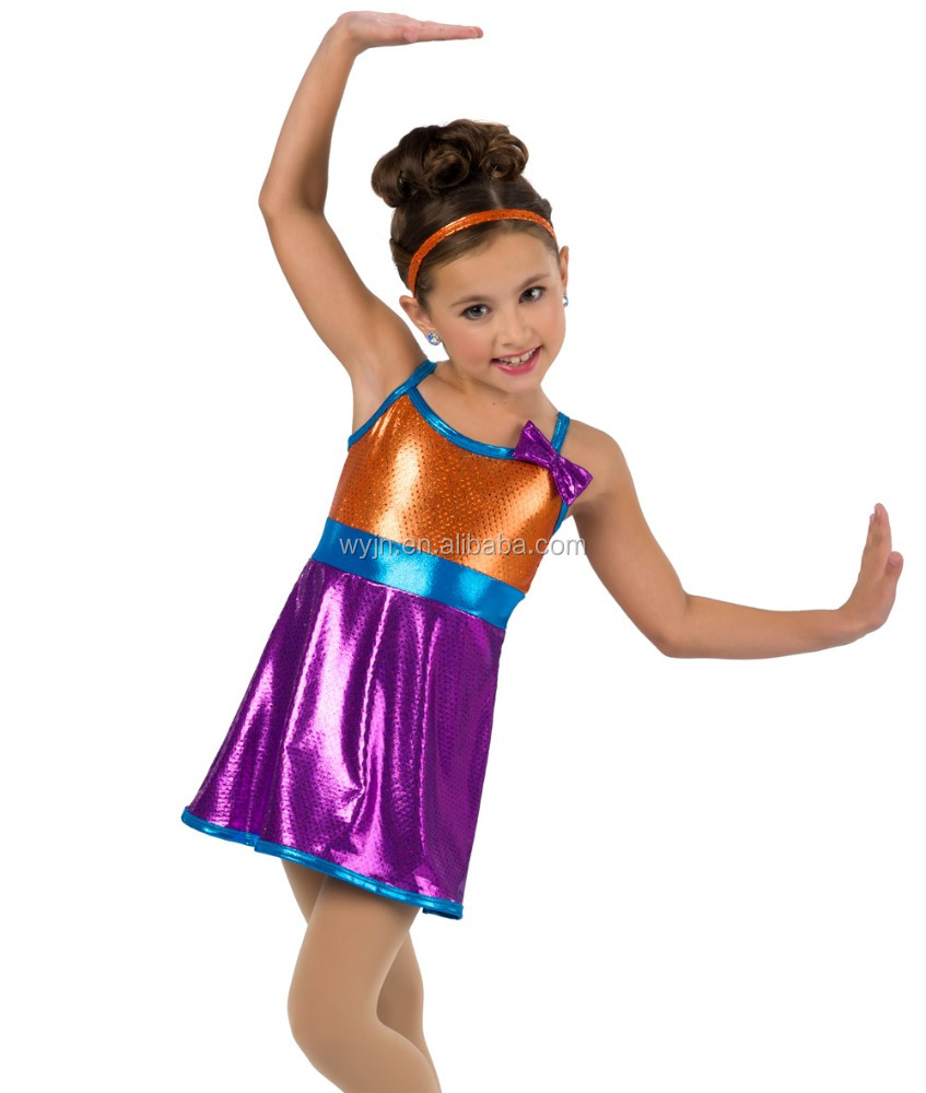2016 New !!- kids colorful foil fabric tap and jazz stage wear