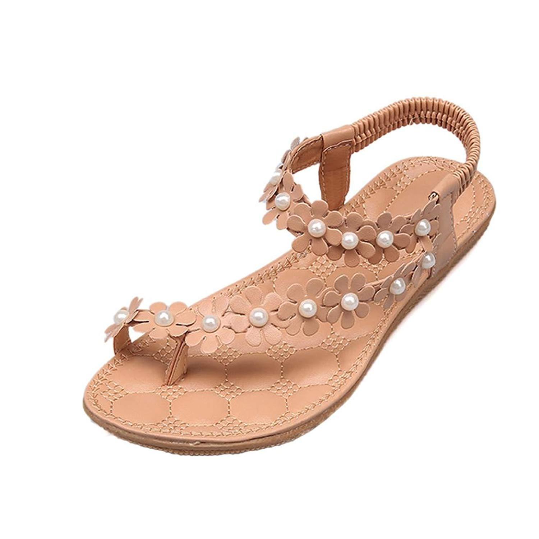 efad7d68c332 Get Quotations · FreshZone Women Summer Bohemia Flower Beads Flip-Flop Shoes  Flat Sandals Flop Flip Slide Shoes