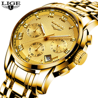 New LIGE Brand Waterproof Casual Sport Quartz Watch Men Luxury With Stainless Steel Watches