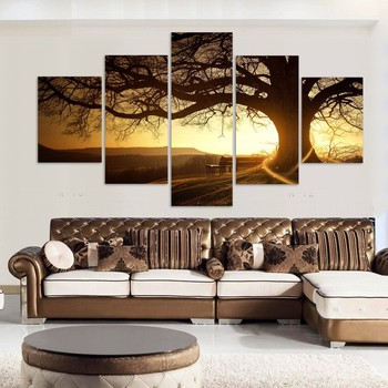 Wholesale Drop Shipping 5 Panel Tree Canvas Painting For Living Room Wall Decor Landscape Home Decoration Wall Art View Tree Canvas Painting