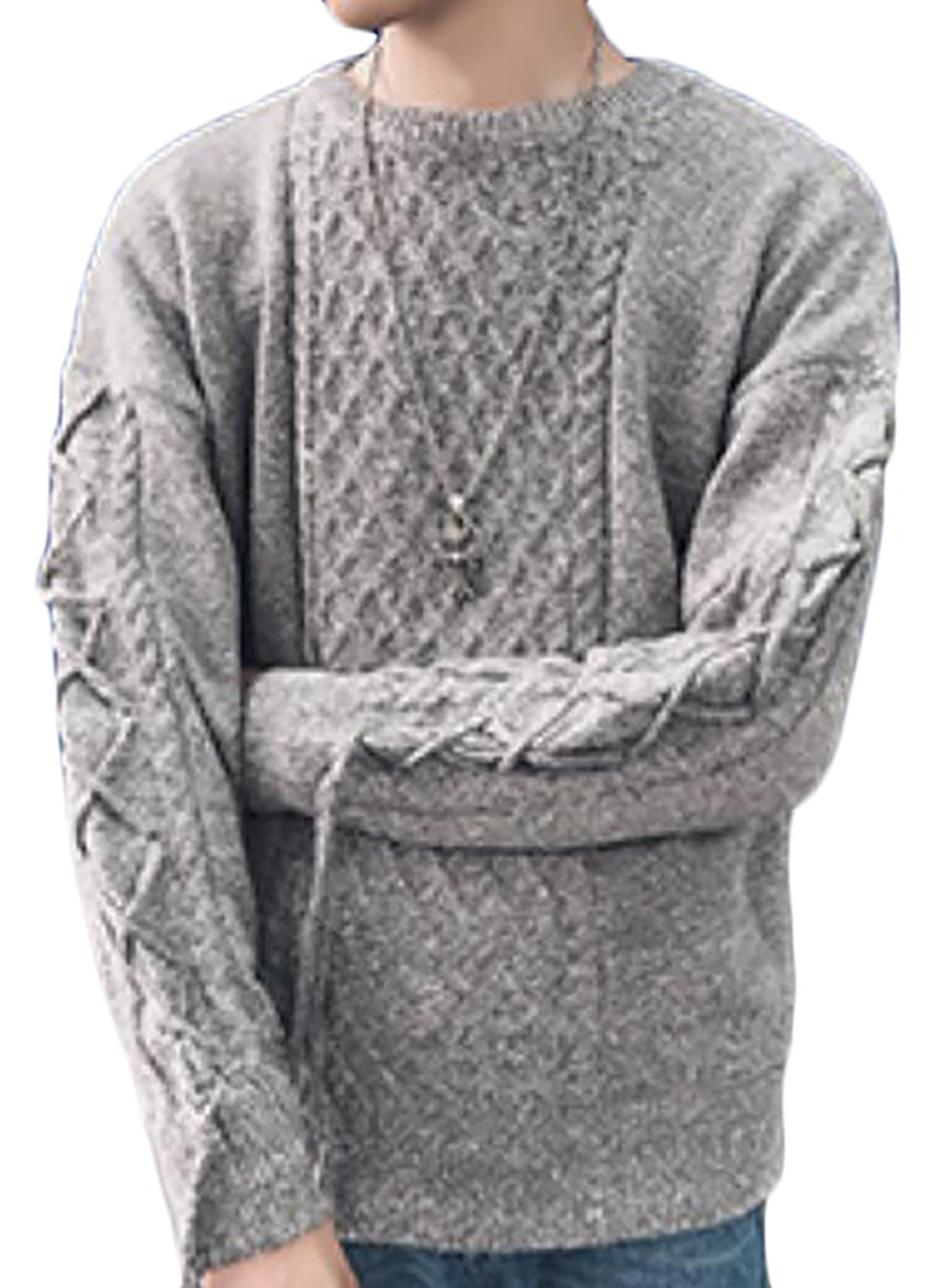 Wofupowga Mens Loose Fit Solid Pullover Knitwear Turtle Neck Long Sleeve Sweater