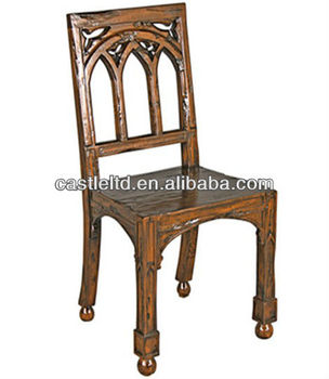 Antique Solid Oak Wood Dining Side Chair,small Gothic Chair,high Back Chair,