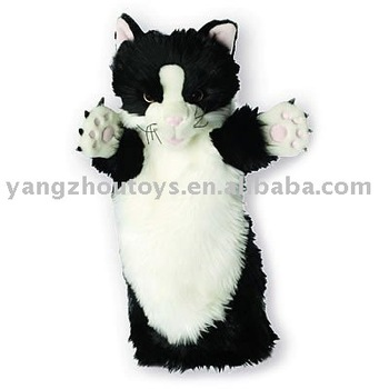 High Quality Black And White Cat Plush Hand Puppet For Children