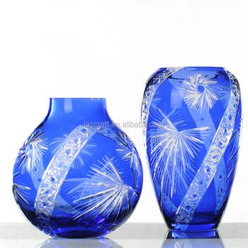 Edo Kiriko Cut Glass Blue Glass Vase Handblown Colored Glass Vases