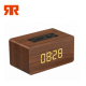 Clock Alarm Wireless Speakers with Digital Display Subwoofer Blue tooth Wooden Speaker