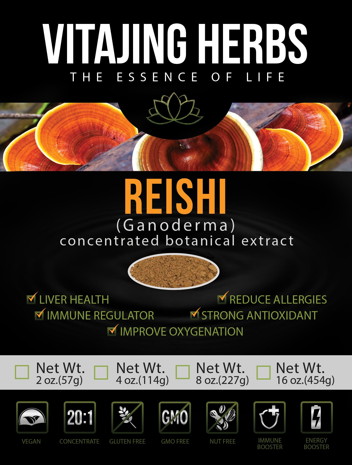 Organic Red Reishi Mushroom Extract Powder (4oz/114gm) 20:1 Concentration (Ganoderma Lucidum, Lingzhi) Pure Wildcrafted, Certified Organic, Vegan, Non-gmo, Gluten-free