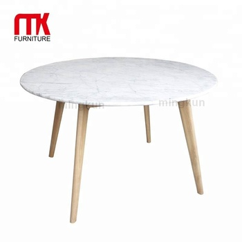 Round Natural Marble Dining Table, Italian Carrara White Marble Dining Table  With Wooden Legs,