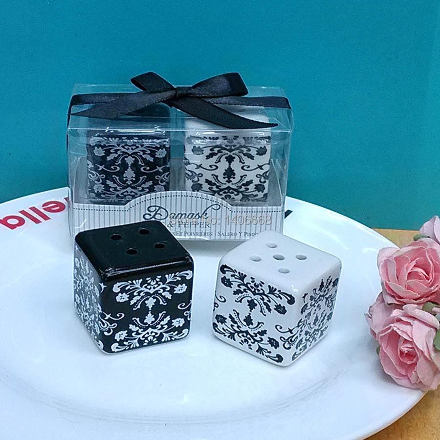 Wedding Gifts Wholesale: Wholesale 100pcs=50sets/lot Damask Porcelain Ceramic Salt