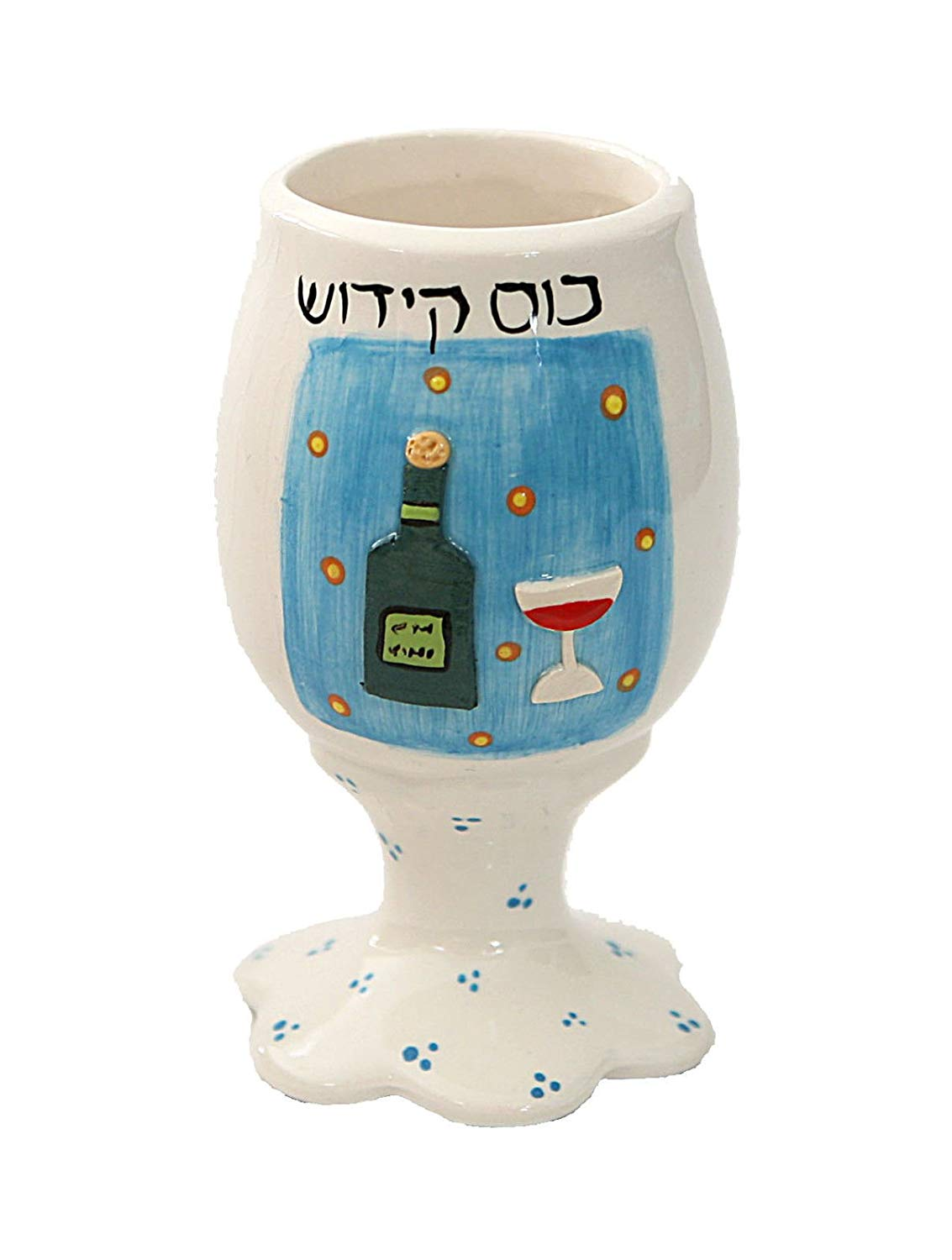 """Jewish, Shabbat Kiddush Cup/Goblet. Beautiful Ceramic Hand Crafted & Hand Painted In ISRAEL By The Artist RACHELI From Naan. Wine Bottle and Kiddush Cup Design. """"Bore Pri Hagefen"""" (The Creator Of The Fruit Of The Vine) Blessing In Hebrew. Cup Size: 5.25"""". Great Gift For: Bar Mitzvah Bat Mitzvah"""