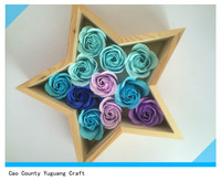 five pointed star shaped wood flower storage box