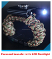 Wholesale Emergency survival 550 paracord bracelet with LED flashlight for camping