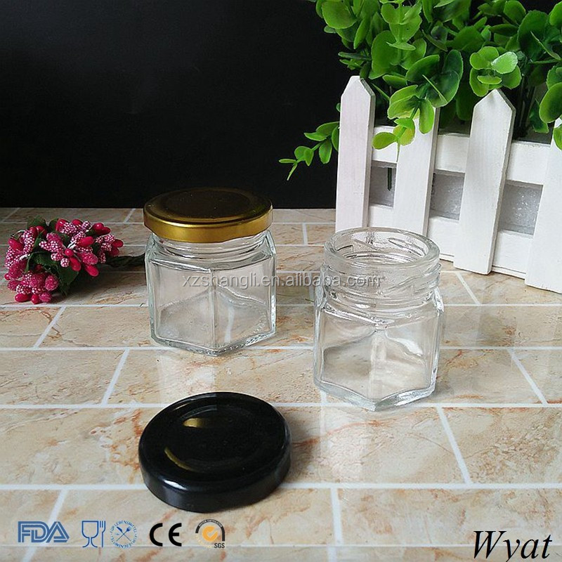 Wholesale Hexagon 40ml Small Glass Honey Jars with Black Lids