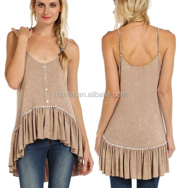 wholesale ladies RUFFLE HEM ACCENT BUTTON TRIM KNIT HI-LO CAMI TOP for women