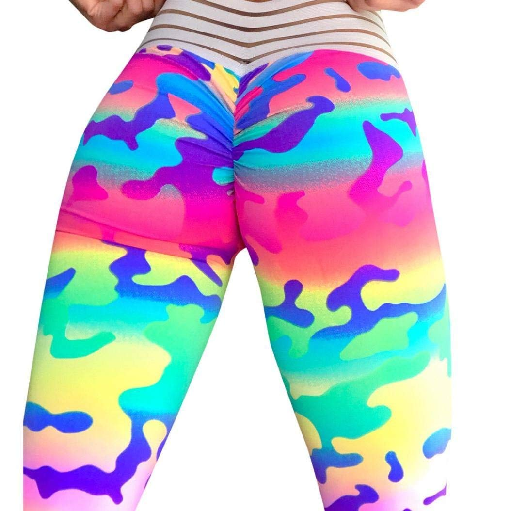 Clearance Sale Women Camouflage Trousers,Vanvler Ladies Leggings Sexy Yoga Pants Push Up for Fitness Sports Gym Running Workout (M, Multicolor)