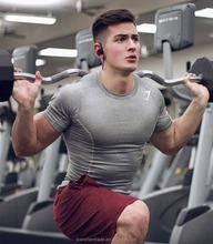 Men Sports Clothes Nylon Short Sleeves Figure Flattering T Shirt Custom Men Workout T Shirt