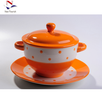 Colorful Ceramic Serving Bowls Set With Handles And Lids For Nfa0391