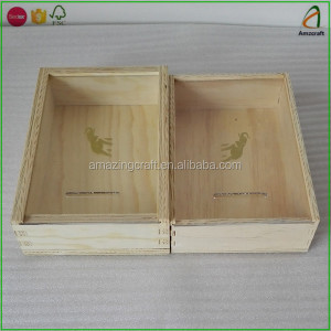 Pine Plywood Wood Gift Storage Package Box with Plexiglass Sliding Lid