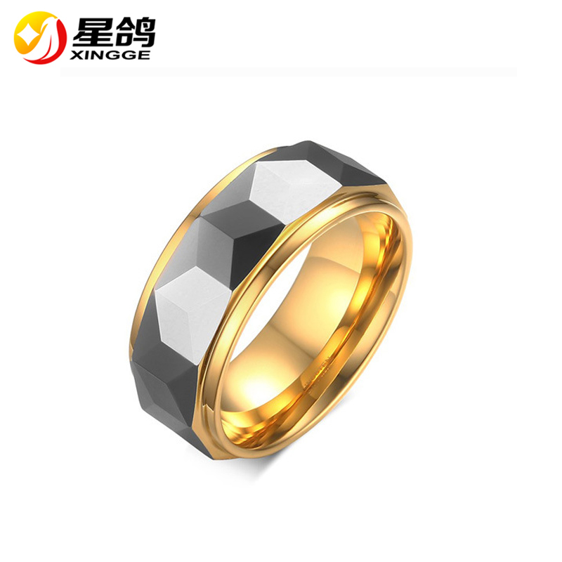 wholesale Black Tungsten Steel Carbide Ring Men Silver Plated 3D Multi-faced Rings Jewelry Wedding Band male Finger ring for men
