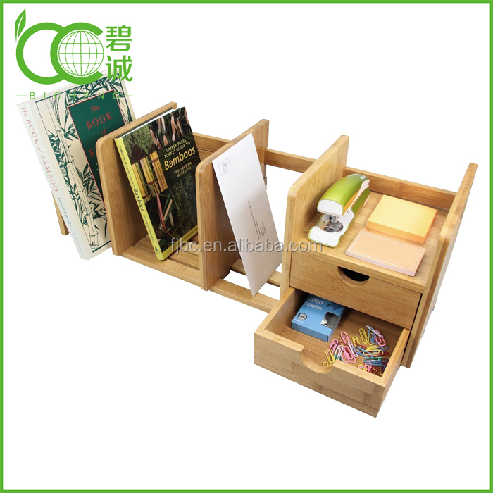 Factory Expandable and Adjustable Bookshelf,Bamboo Desk Organizer with 2 Drawers