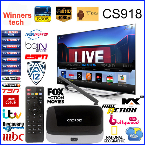 The Live Streaming Channel CS918 Q7 MK888 Quad Core Android TV Box Rockchip 3188 Cortex A9 Smart TV Box HD 1080P Arabic IPTV Box
