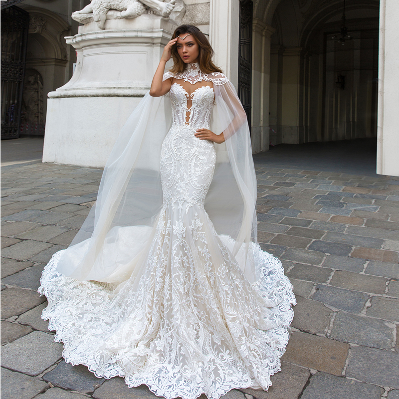 2018 Modest Moroccan Wedding Dresses Bridal Gown High Quality Unique Lace Trumpet Vestidos With Shawl Dress Mermaid Custom Made