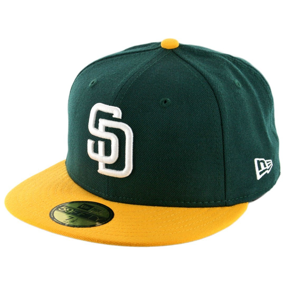 the best attitude 083a1 7dcbf Get Quotations · New Era 59Fifty San Diego Padres Fitted Hat (Dark  Green White-Gold)