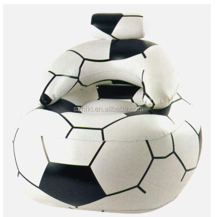 round soccer shaped inflatable sofa chair with backrest and headrest