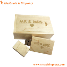 Great Gift Maple Wooden 16GB USB Flash Drive Sliding Door Gift Box with Eva Laser Engraved Design Wood USB