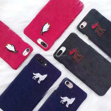 Christmas Gifts Fabric Art Wolf Deer Penguin Phone Case For Apple iphone 7 7Plus