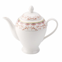 Fine porcelain pink flower tea pot ceramic high end crockerys 920ml tea pot sets porcelain