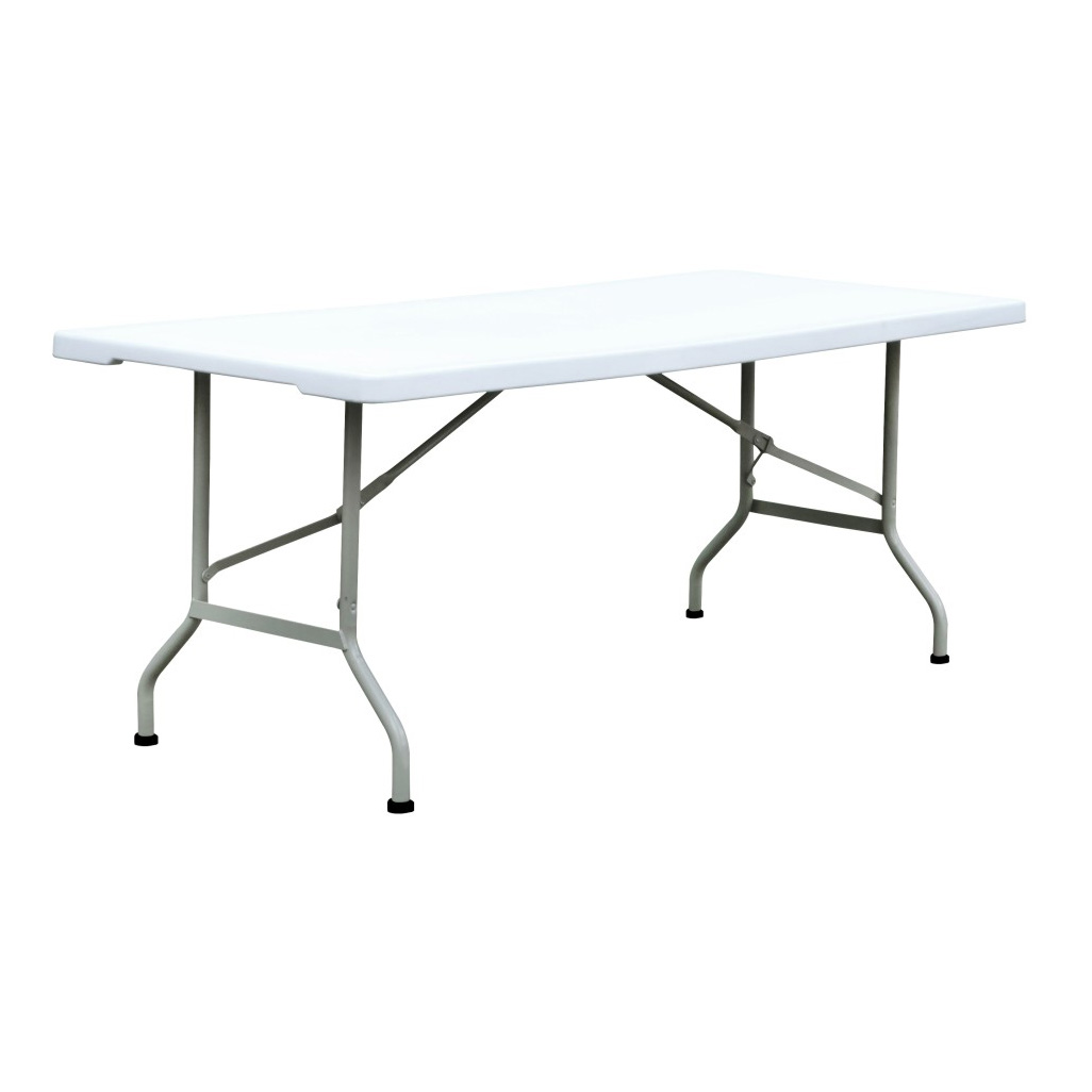 White color HDPE Outdoor Rectangular Plastic Folding Table