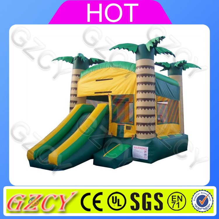 Tropical theme small bouncy jumping castle cheap bouncer house for games