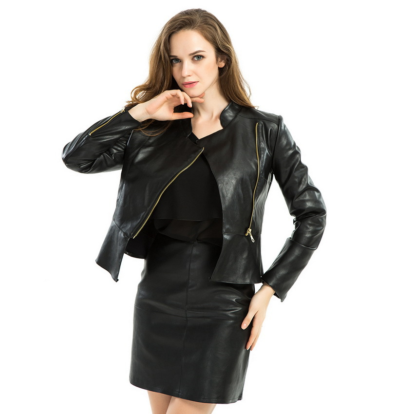 Zipper Faux Leather Jacket 2015 Autumn Women Elegant Work Slim Ruffle PU Motorcycle Jackets Street Casual chaquetas mujer