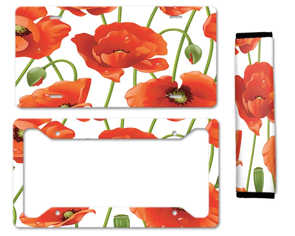 Buy poppies flower auto car license plate frame seat belt cover gift poppies flower auto car license plate frame seat belt cover gift set mightylinksfo