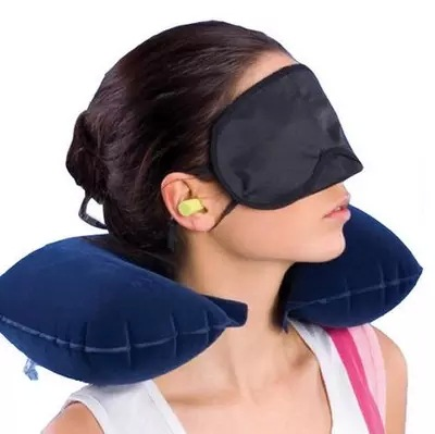 China produce customized design inflatable travel neck pillow + eye mask + 2 Ear Plug