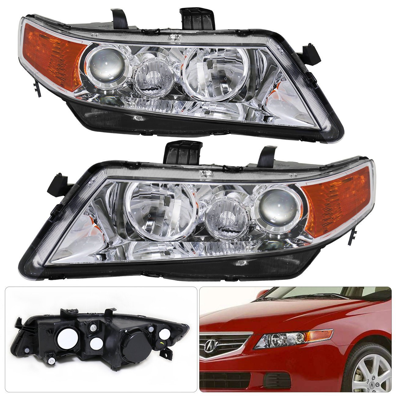 Get Quotations · For Acura TSX CL9 Projector Chrome Housing Clear Lens  Amber Reflectors Headlight Head Light Lamp Upgrade