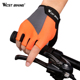WEST BIKING Breathable Lycra Anti-slip Bicycle Mittens Racing Summer Half Finger Cycling Gloves