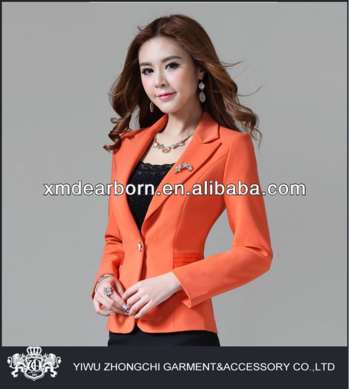 gun collar orange fitted girls stylish suit