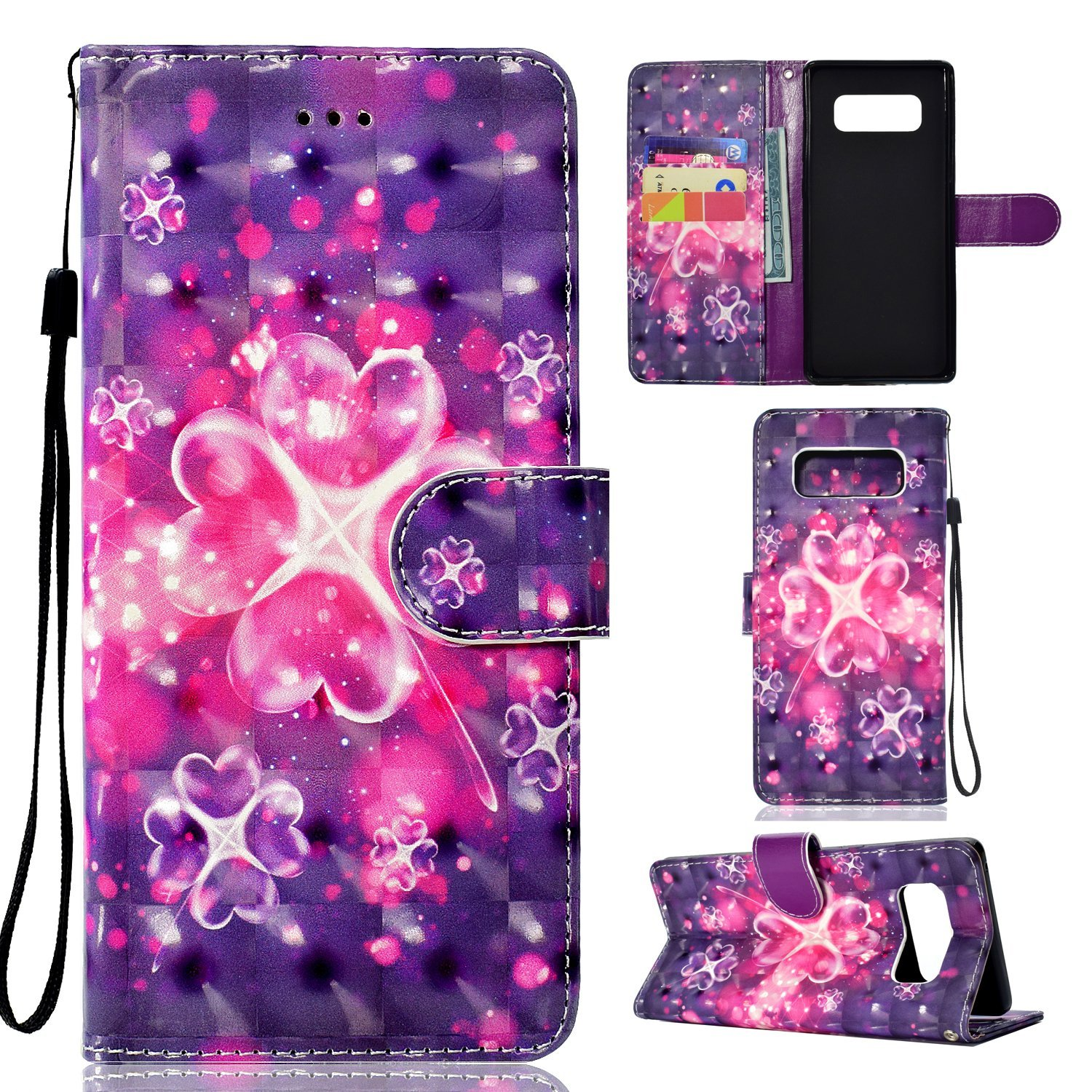 Galaxy Note 8 Case, Ranyi [Full 3D Painting Print] [Flip Magnetic Wallet] [Glitter & Shiny] [ID&Card Holder] Luxury Bling Leather Wallet Protective Case for Samsung Galaxy Note 8 (2017), magic flower