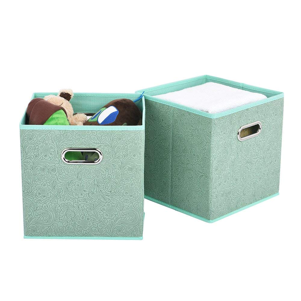 Get Quotations · VCCUCINE Foldable Double Metal Handle Cloth Box Baskets  Containers Organizer Cube Storage Bins, Collapsible Fabric