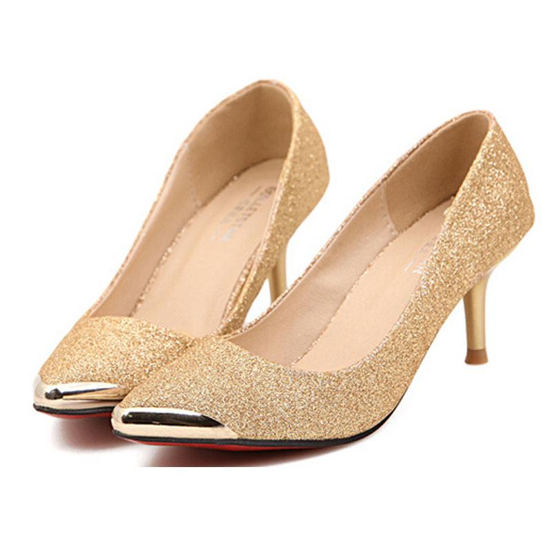 f90b6b3de87 Red Bottom High Heels Fashion Women Pumps Gold Black Pointed Toe Zapatos  Mujer