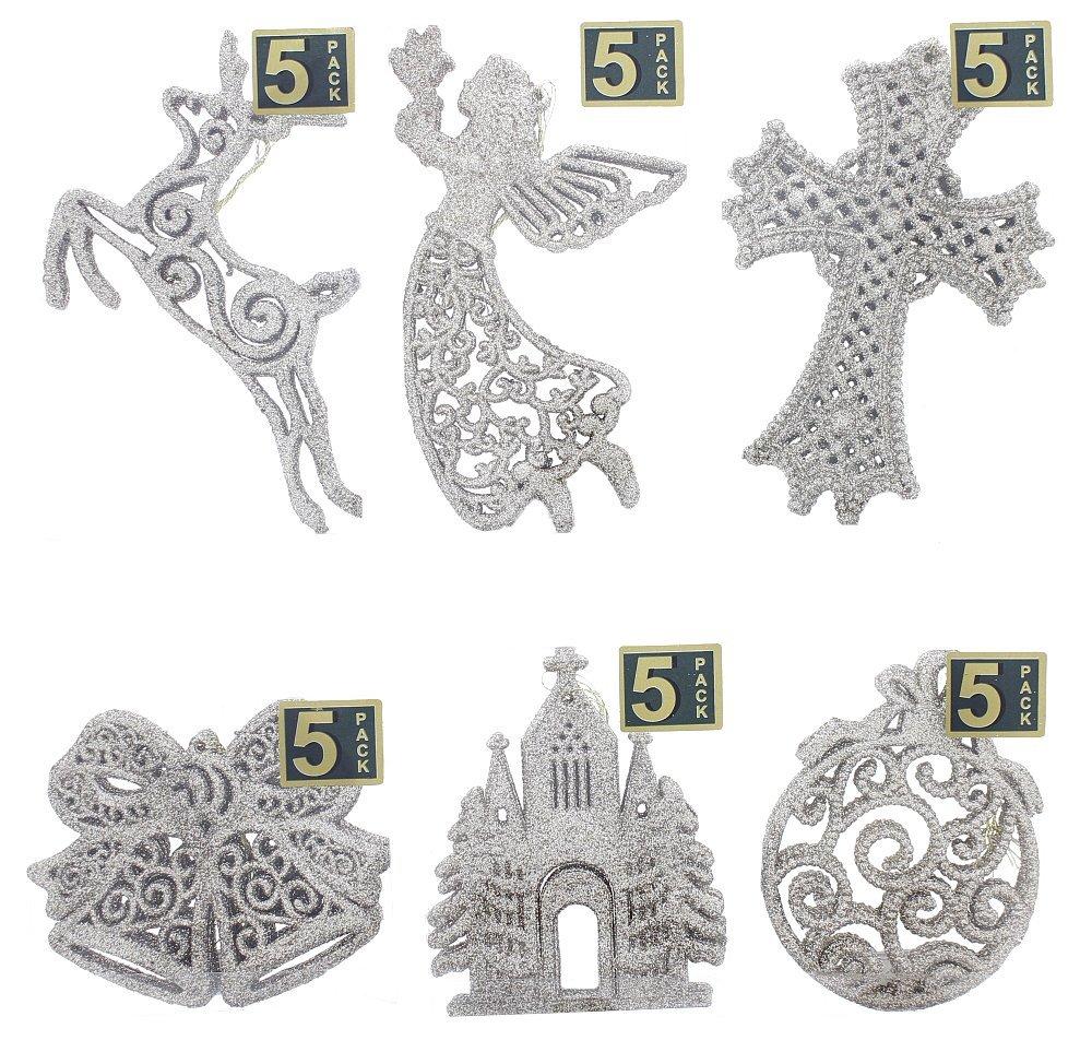 "Elegant Fancy Shatterproof Sparkling Shimmering Christmas Glitter Holiday Variety Shaped Ornaments (Raindeer, Church, Cross, Angel, Bells, & Ball) , Silver, Medium, 25 Count, 4"" x 6"""