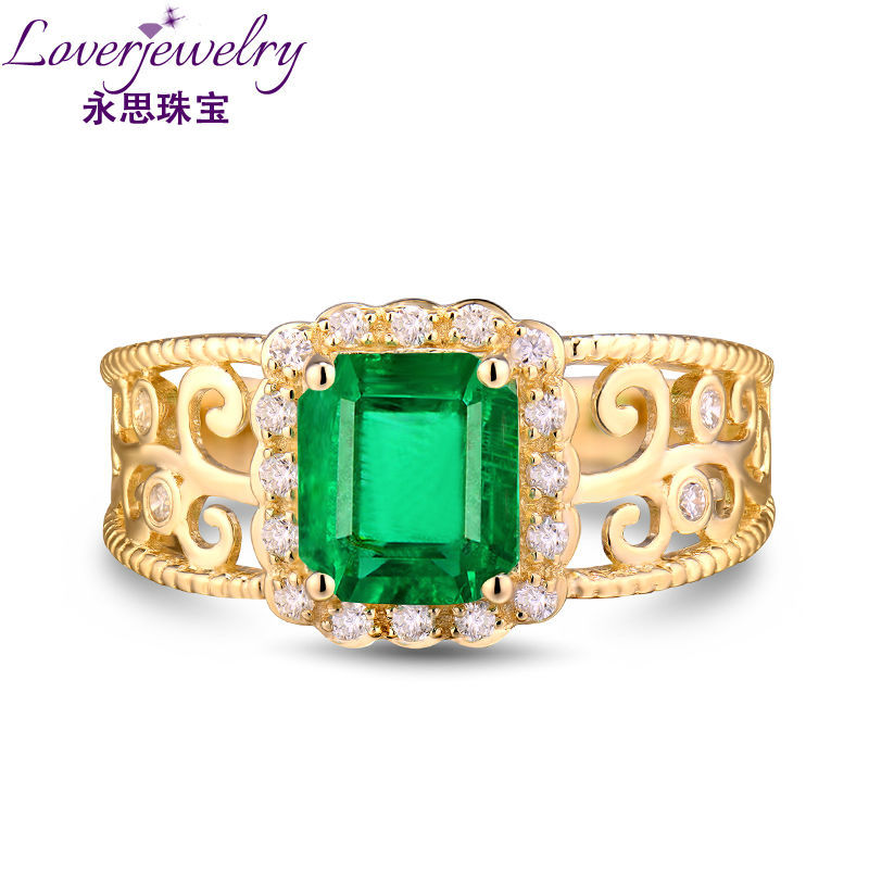 Cool Natural Emerald Stone Men Ring With Diamond 14K Yellow Gold ...